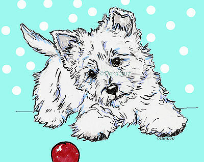 West Highland white Terrier note cards  Pup by Darci