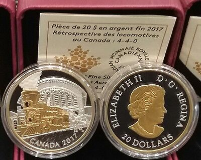 2017 Locomotive4-4-0 AcrossCanada $20 1OZ PureSilver GoldPlated Proof Train Coin