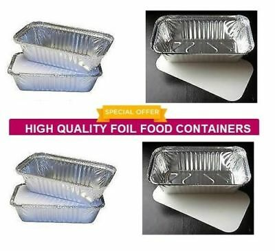 500 x No 6a Catering Aluminium Foil Food Container Take Away Box + Lids