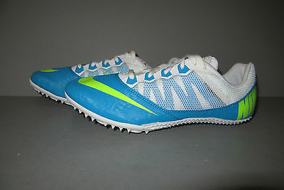 NIKE Zoom Rival S 7 Track Field Spikes Cleats Blue/Lime/White 615998-431 Size 9