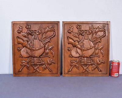 *Pair of Vintage French Carved Solid Oak Panels Arts Themed with Instruments 1