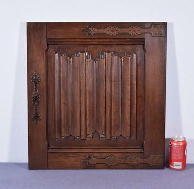 *Gothic Carved Architectural Door Panel in Solid Oak Wood w/Linenfold Carving
