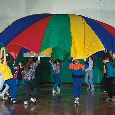 Kids Play Parachute Children Outdoor Game 10 ft Rainbow Color 8 Handles Exercise