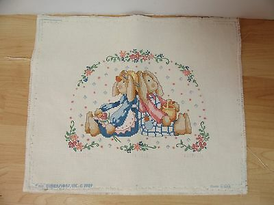 Finished Cross Stitch 2 Country Bunnies Bunny Rabbit Completed 12x15 Vtg 1989