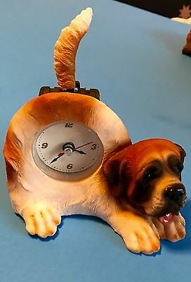 Saint Bernard Puppy Dog Tabletop Clock with Wagging Tail