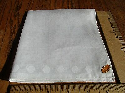 VINTAGE DOTTED SWISS COTTON WHITE HANKIE NEW w LABEL HAND ROLLED HEM