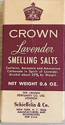 Vintage Crown Lavender Smelling Salts Schieffelin &Co. New York, NY