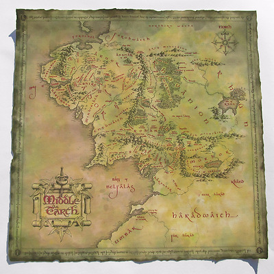 MIddle Earth Map Lord Of The Rings Soft Cotton Canvas Cutted by me
