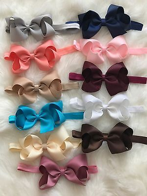 Big Bow Baby Girls Headbands Bow Soft Headbands Elastic Band 5 Inches Hair + Lot
