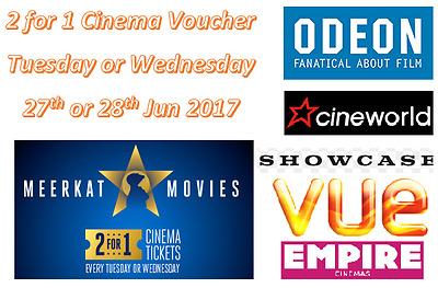 2 X 2 for 1 Cinema Tickets Voucher Code for Tue/Wed Odeon Cineworld Vue