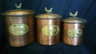 Set of 3 Copper Flour Sugar Coffee Storage Canister Jars: chicken handles