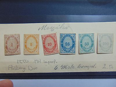 Mexico 1880 MH imperf postage due set. Rare set of stamps.