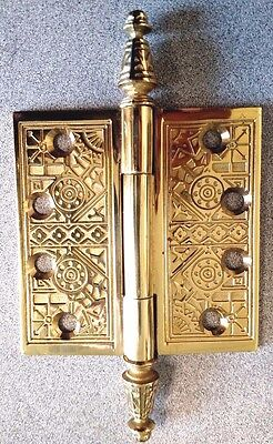 Ornate Paperweight Solid Brass Hinge With Parliament Steeple Tips Polished