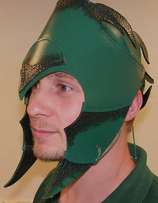 Handcrafted Green Elven Leather Helmet ideal for LARP, costume accessory, etc.