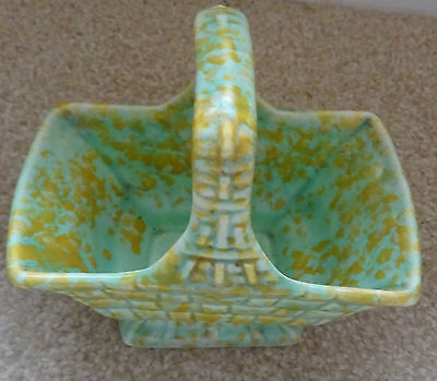 Wade Green And Gold Coloured Rectangle Pottery Posy Bowl Basket