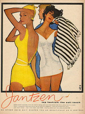 1958 vintage bathing suit Ad JANTZEN Swim Suits Terrific Art !  060217