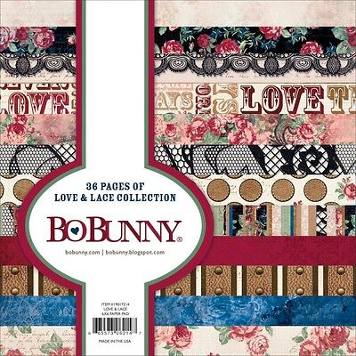 "New Bo Bunny Paper Pad 6"" x 6""  Love and Lace"