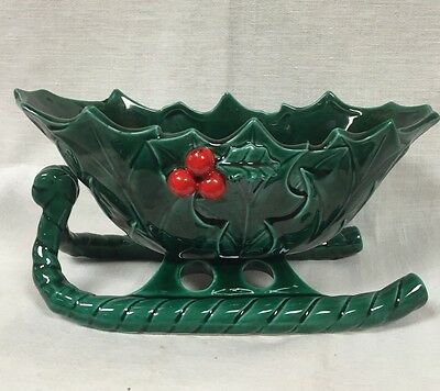 Vintage 1940/50 Lefton Green Holly Sleigh Candy Serving Dish #1346 & 1364 Marked