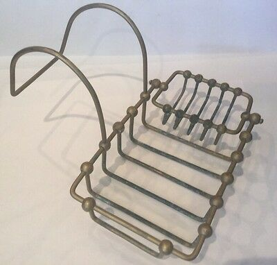 Antique Victorian Brass Wire Claw Foot Tub Rim Soap Dish Sponge Holder