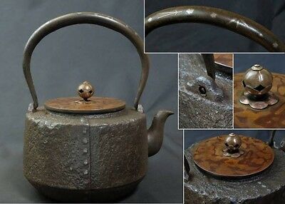 Japanese Iron Tea Kettle Tetsubin teapot Pine leaves handle Spotted copper 铁壶 鐵壺