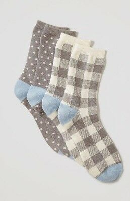 LOFT Women's Gray Cozy Plaid Crew Sock Set