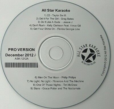 All Star Karaoke Disc Pro Version December 2012 A Ask-1212A Cd+G 9 Tracks