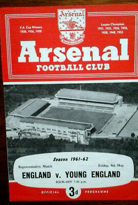 England V Young England 4/5/1962 @ Arsenal 4 Pages