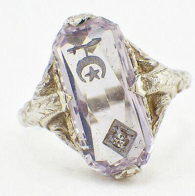 Vintage 1930's 14K Women's Shriners Masonic Filigree Ring Crystal w/Diamond