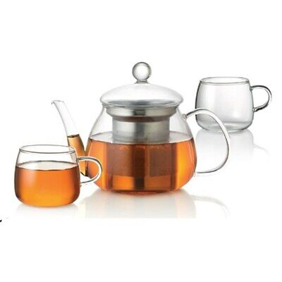 New Baccarat Barista Glass Teapot and Cup 3 Piece Set