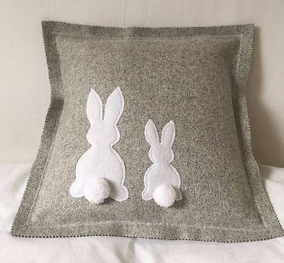 Bunny Cushion Cover - Grey & White - New
