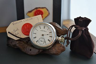Antique Rare Early 1894 Waltham Pocket Watch Waltham Coin Silver Case Serviced