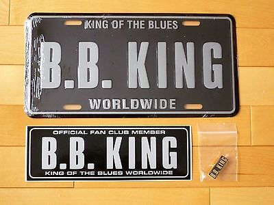 Bb King Tour License Plate, Sticker And (Rare!) Fan Club Pin - King Of Blues