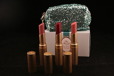 TOO FACED LE PETIT TRESOR La Crème Color Drenched Lipstick Set 2015 Holiday gift