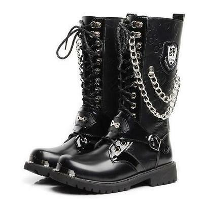 Punk Mens Mid-calf Boot Casual Metal Chain Buckle Lace Up Military Leather Shoes