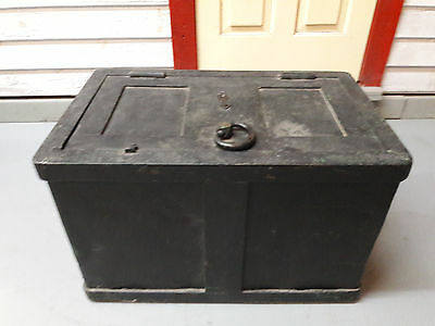 old railroad strong box w/ key - original