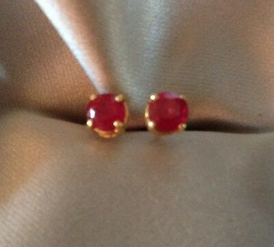 1 Ct Natural, Ruby Earrings, Stud, Round, 14K Yellow Gold Over Sterling Silver