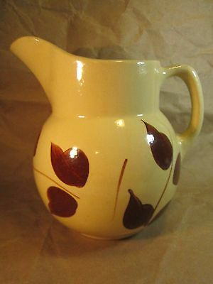"""Watt Pottery USA 16 Pitcher w Brown Leaves on One Side 7"""" tall"""