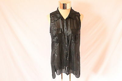 Women's Black Sleeveless Thin Vest by GUESS - Size M