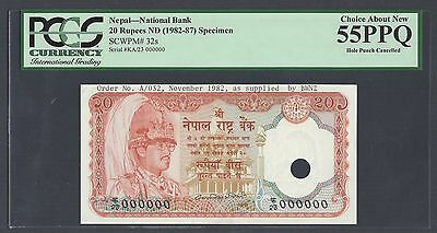 Nepal 20 Rupees ND(1982-87) P32s Specimen About Uncirculated
