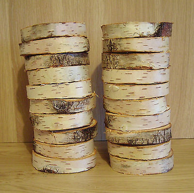 "20 Silver Birch Bark Wood Log Slices. Decorative Display Logs. 3 - 4 "" diameter"