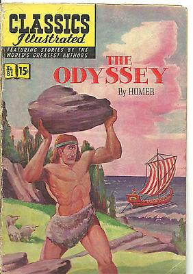Classics Illustrated #81 : VG : the Odyssey by Homer / 1st Printing Original