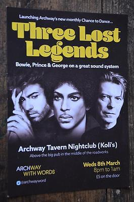 MUSIC FLYER David Bowie Prince George Michael club Archway London advertising