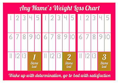 Personalised Weight Loss Chart - 3 stone - Laminated with 1 sheet of stickers