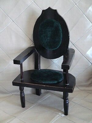 """Mini Wood Chair Carved with Padded Seat & Back Doll Bear Display 13"""""""