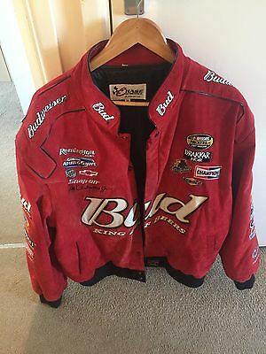 Mens 3Xl Chase Authentics Nascar Suede Bomber Jacket