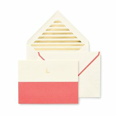 Kate Spade - L - Dipped Initial Notecard Set - Flamingo  - Great Gift for Grads