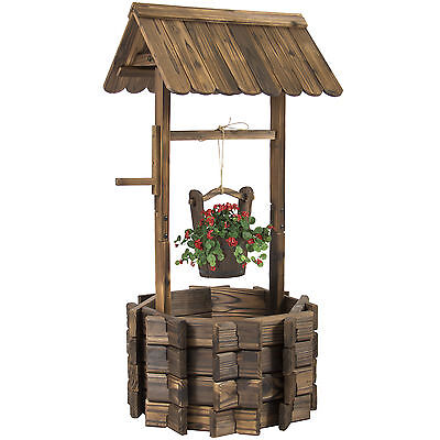 Vintage Wooden Founain Bucket Flower Planter Patio Garden Outdoor Home Decor Set