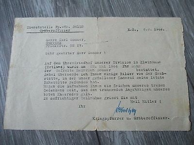 Letter german to father solider and son died at front  WW2 WWII unique Wehrmacht