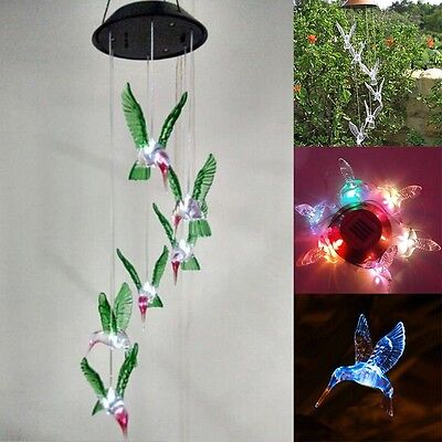 Solar Color Changing LED Hummingbird Wind Chimes Light Lamp Home Garden Decor