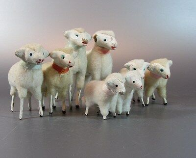 Vintage Wooly Sheep w/ wooden stick Legs PUTZ JAPAN lot of 8 Nativity Lamp 50s